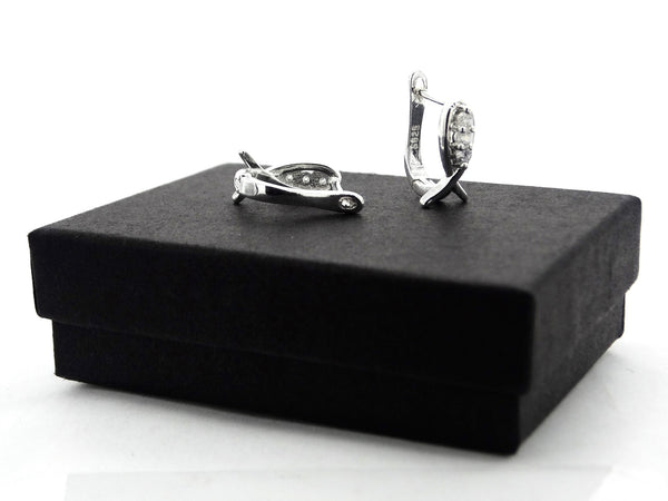 Classic 3 gem silver earrings GIFT BOX