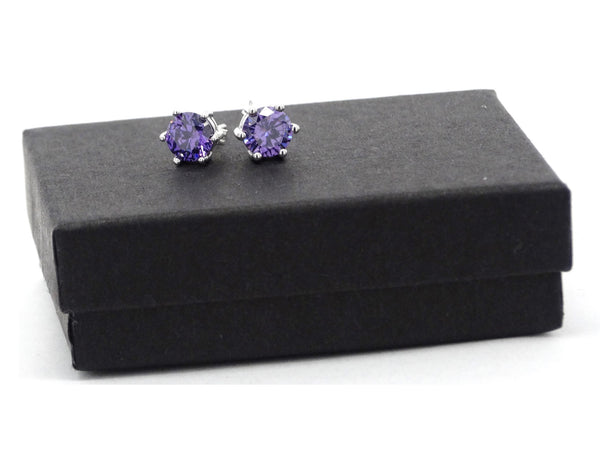 Purple gemstone stud earrings GIFT BOX