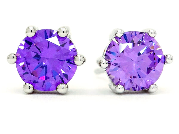 Purple gemstone stud earrings