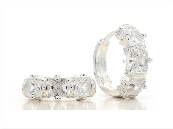 Silver white princess gem hoop earrings