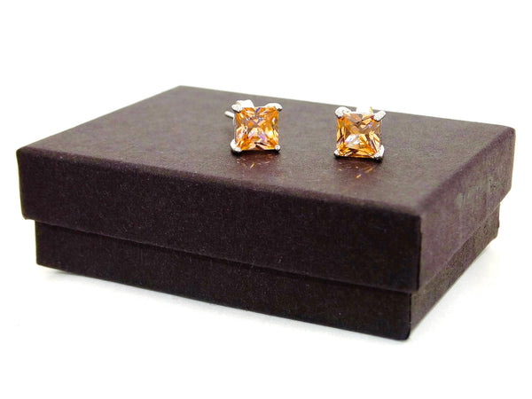 Citrine princess gem silver earrings GIFT BOX