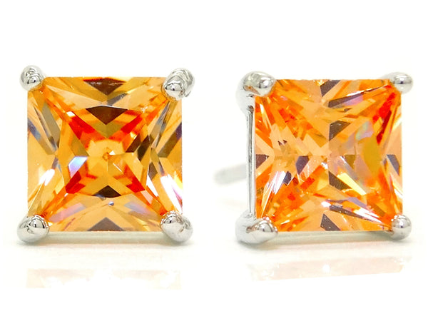 Citrine princess gem silver earrings