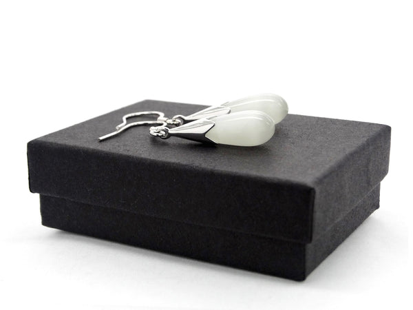 White moonstone fall earrings GIFT BOX