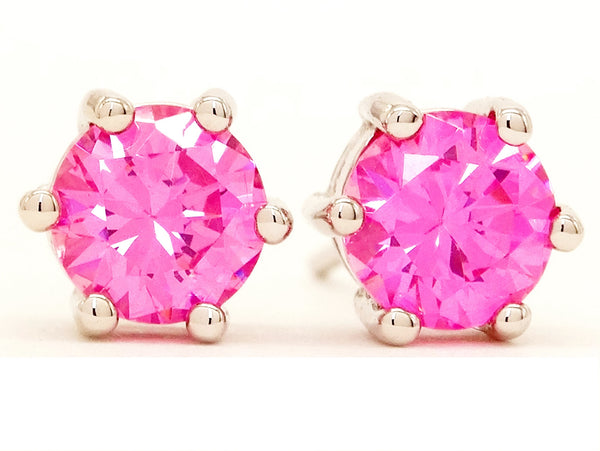 Pink gem silver stud earrings