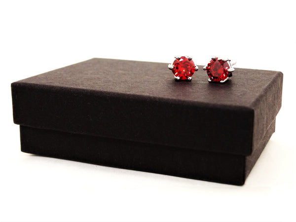 Fire red gem stud earrings GIFT BOX