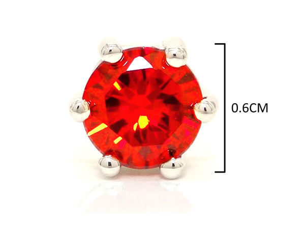 Fire red gem stud earrings MEASUREMENT
