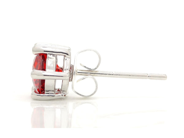 Fire red gem stud earrings SIDE