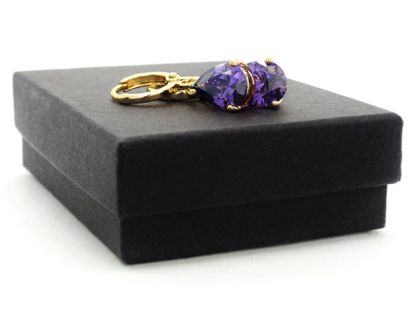 Gold purple raindrop amethyst type earrings GIFT BOX