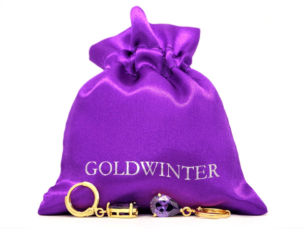 Gold purple raindrop amethyst type earrings GIFT BAG