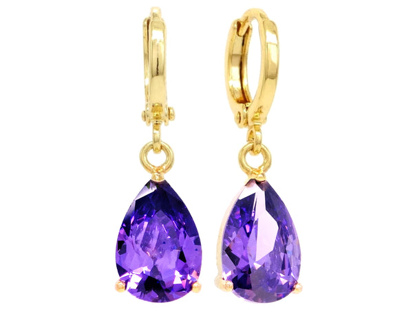 Gold purple raindrop amethyst type earrings MAIN