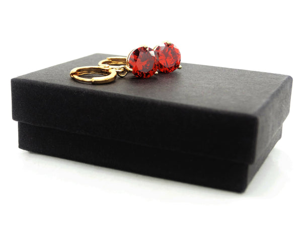 Red gemstone gold earrings GIFT BOX
