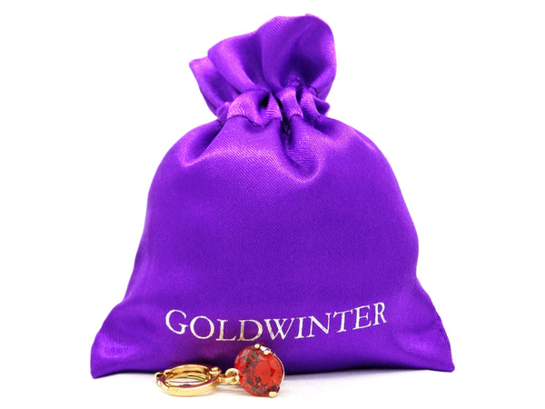 Red gemstone gold earrings GIFT BAG