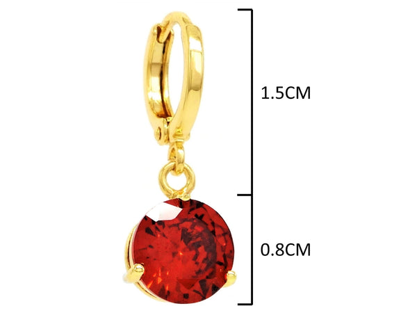 Red gemstone gold earrings MEASUREMENT