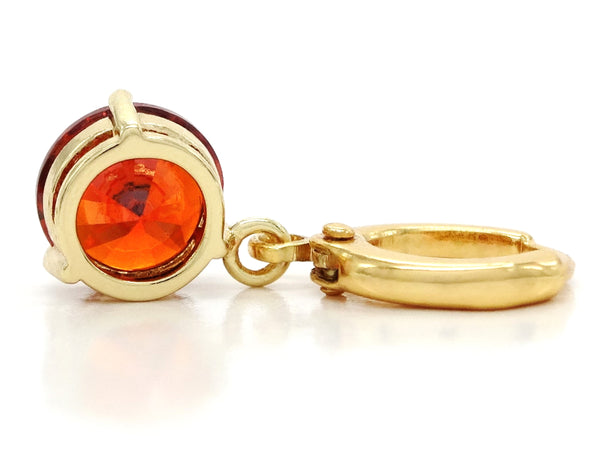 Red gemstone gold earrings BACK