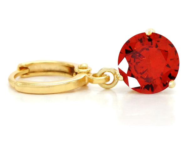 Red gemstone gold earrings FRONT