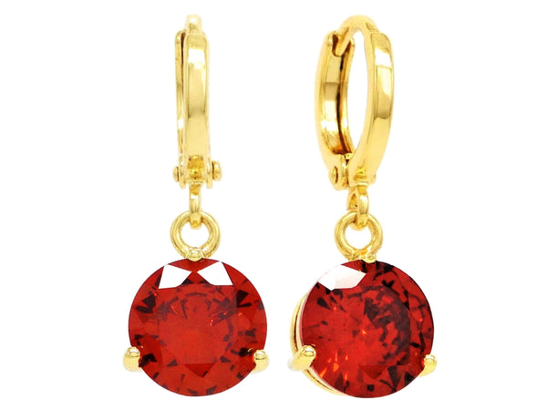 Red gemstone gold earrings