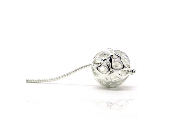 Silver drop design ball earrings BALL