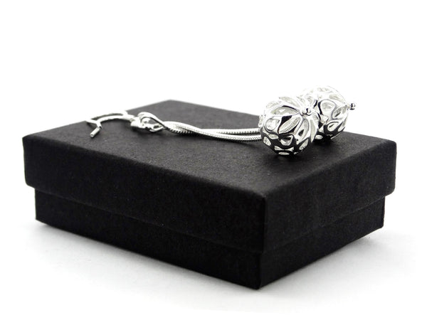 Silver drop design ball earrings GIFT BOX