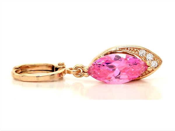 Rose gold pink marquise earrings FRONT