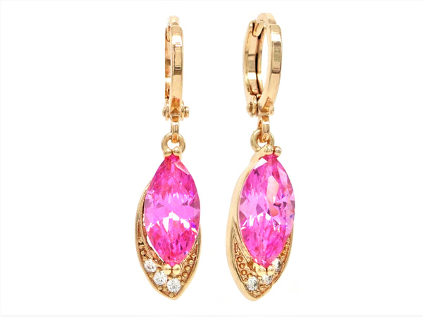 Rose gold pink marquise earrings MAIN