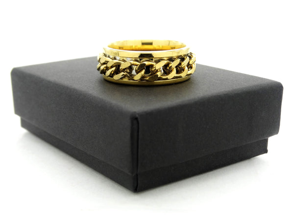 Yellow gold chain ring GIFT BOX