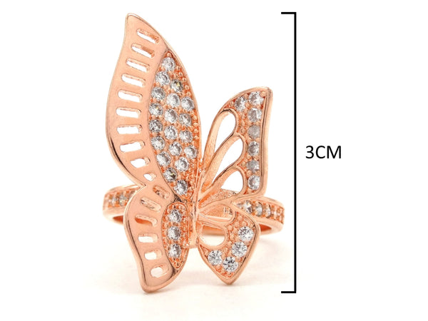 Rose gold butterfly wings ring MEASUREMENT