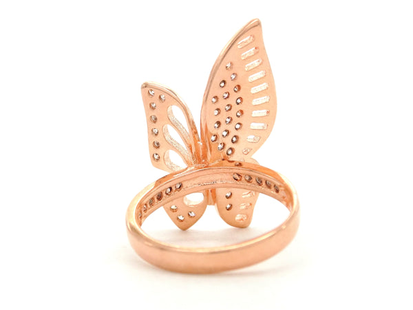 Rose gold butterfly wings ring BACK