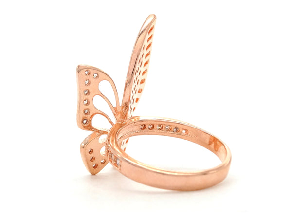 Rose gold butterfly wings ring SIDE