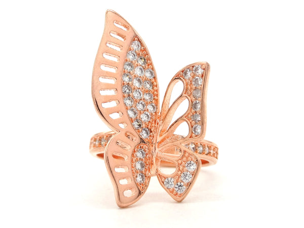 Rose gold butterfly wings ring MAIN