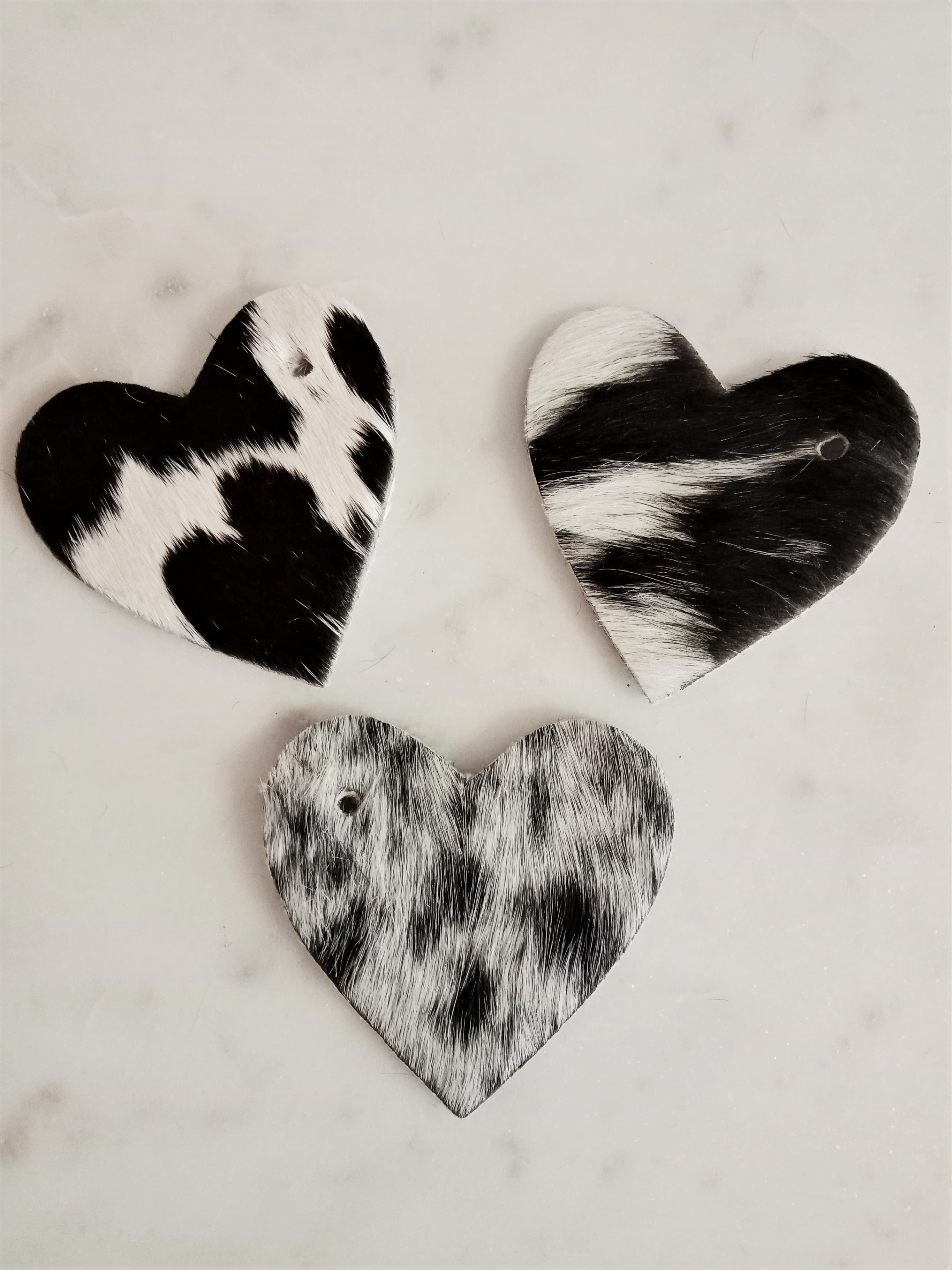 NEW: Cowhide Heart Keyring