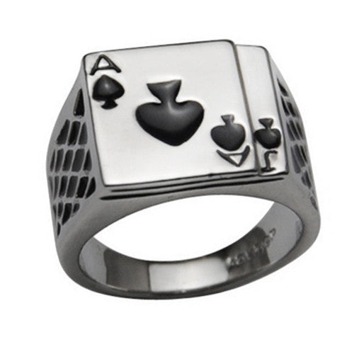18K White Gold Plated Ace of Spades Poker Ring