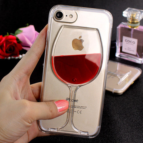 Luxury Liquid Red Wine Clear Case For iPhones