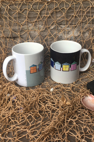Beach Hut Ceramic Mug Pair