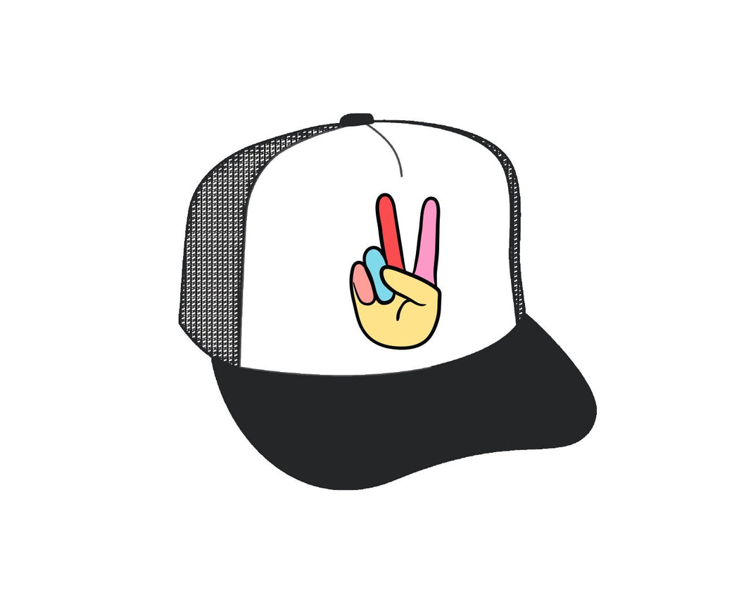 Feather 4 Arrow Peace Youth Hat- Black/White