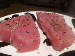 Seared Tuna Steaks with Lavender & Rosemary Sea Salt