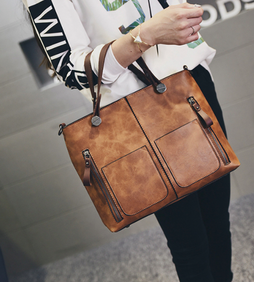 Sleek Genuine Leather Handbag