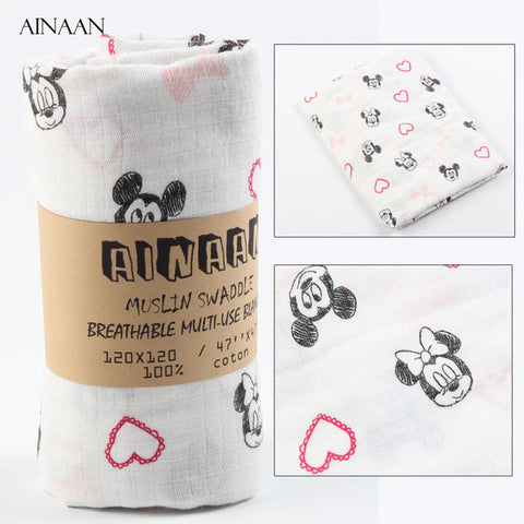 Ainaan Muslin Cotton Baby Swaddles Mickey and Minnie