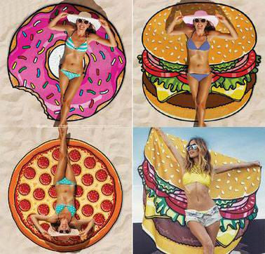 Round Towel with Food Print