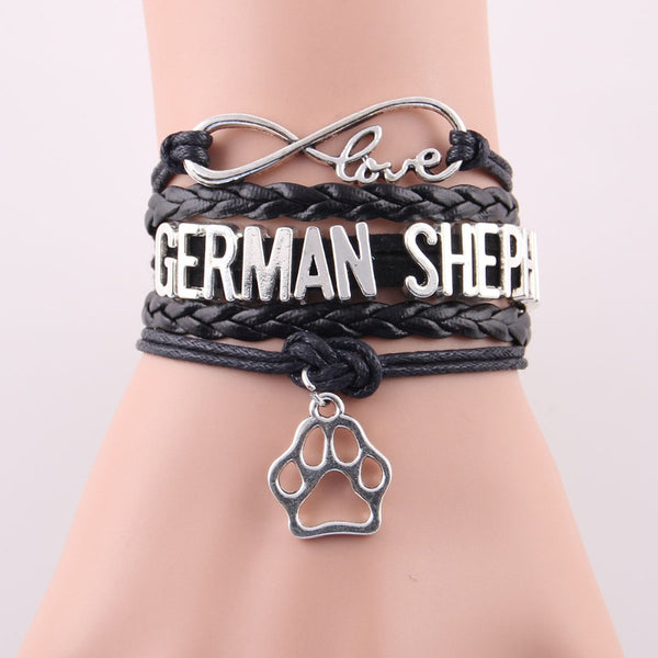 VSC World Exclusive: Leather Wrap German Shepherd Paw Charm Bracelet