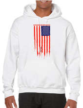 My Blood Runs Red White and Blue American Flag Hoodie Hooded Pullover Sweatshirt - Vovo Inc