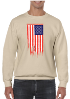 My Blood Runs Red White and Blue American Flag Crew Neck Sweatshirt - Vovo Inc