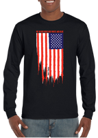 My Blood Runs Red White and Blue American Flag Long Sleeve T-Shirt - Vovo Inc
