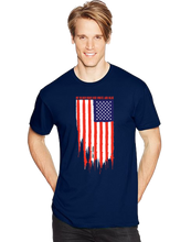 My Blood Runs Red White and Blue American Flag Short Sleeve T-Shirt - Vovo Inc