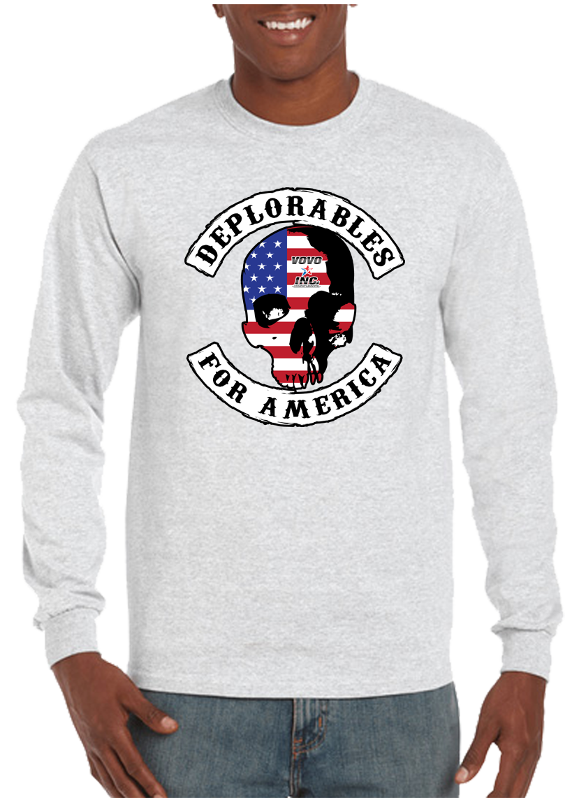 Deplorables For America Skull Long Sleeve T-Shirt - Vovo Inc
