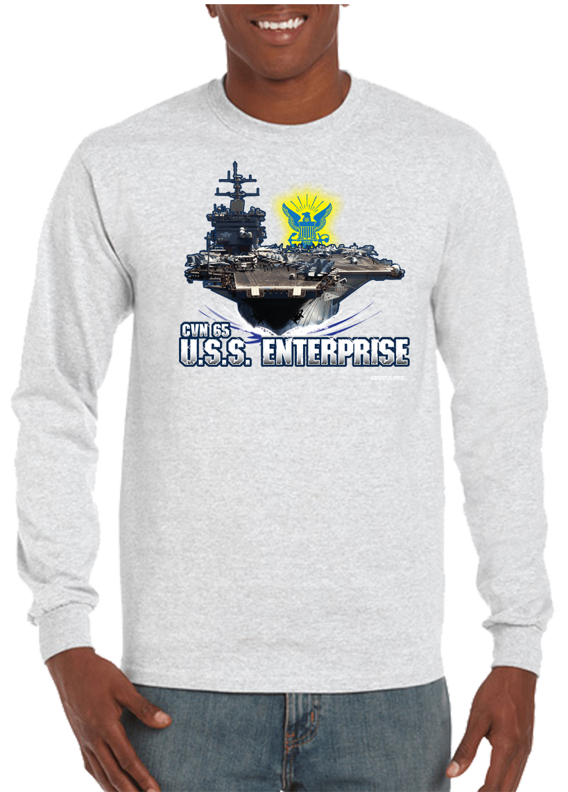 USS Enterprise CVN-65 Big E Aircraft Carrier Long Sleeve T-Shirt - Vovo Inc