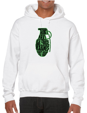 Grenade Army Navy Airforce Marine Corps Coast Guard Pullover Hoodie Hooded Sweatshirt - Vovo Inc