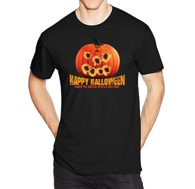 Tactical Halloween Pumpkin Bullet Hole Carving T=Shirt - Vovo Inc