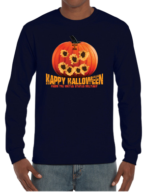 Tactical Halloween Pumpkin Bullet Hole Carving Long Sleeve T-Shirt - Vovo Inc