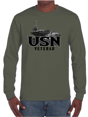 U.S. VETERAN USN Navy Pride Honor Courage Bravery Served Long Sleeve T-Shirt - Vovo Inc