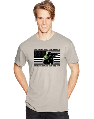 USA Having The Worlds Back Since 1917 Short Sleeve T-Shirt - Vovo Inc